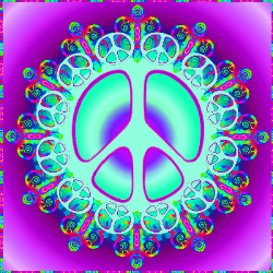 turquoise layers with purple center peace sign, set on a gradient background