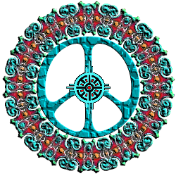 turquoise, red, native american pattern peace sign