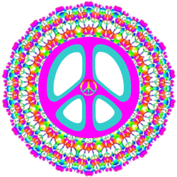 rainbow colors of patterned layers peace sign