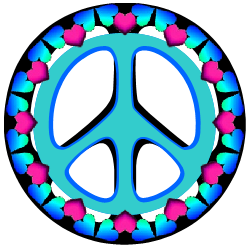 peace sign bordered in blue and pink hearts
