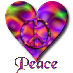 purple, orange, pink swirls heart. peace sign laid over heart