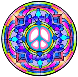 peace sign center, stained glass mandala style.