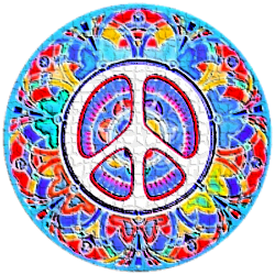 bright colors in mosaic peace sign