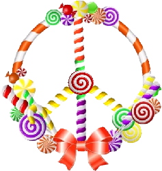 candy shaped peace sign
