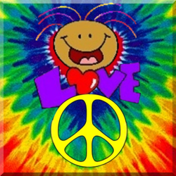 happy character with peace sign on tie dye background