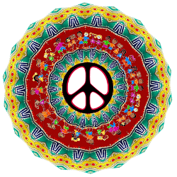 layers of design peace sign with circle of children