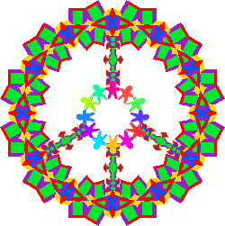 colorful peace sign with circle of children
