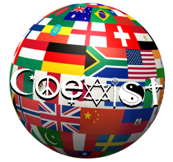 country flags shape globe, coexist symbols circulate