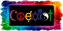colorful coexist symbols in colorful frame
