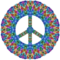 colorful sequins peace sign design