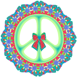 a country flowers peace sign with a polka dotted bow center