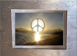 bright sun with peace sign over ocean