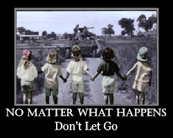 inspirational style with little girls holding hands walking into war zone