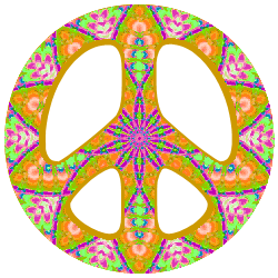 peace sign pattern with orange, green, pink