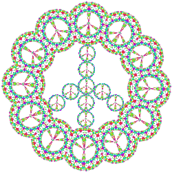 eyelet peace sign design in pastels