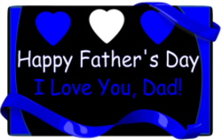fathers day card with blue ribbon, hearts