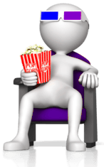 figure sitting in chair with popcorn