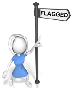 flagged on street sign female pointing