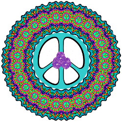 turquoise peace sign , flowers center