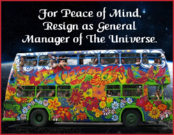 hippie bus in universe with peace quote