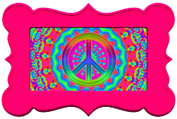 glowing colors framed in hot pink peace sign