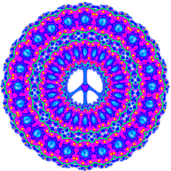 colorful layers of pink, blue peace sign