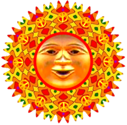 sun face with bright colors, peace signs surrounding