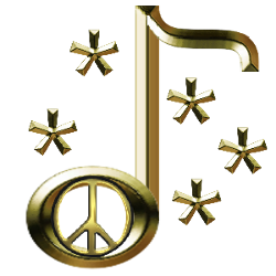 peace sign centered gold metal note with five stars