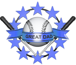 baseball, bats, stars, banner with great dad