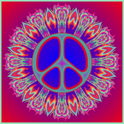 peace sign on gradient background with feathers