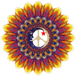sunflower style peace sign with moon, star