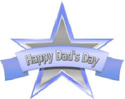 happy dads day banner over blue, silver star