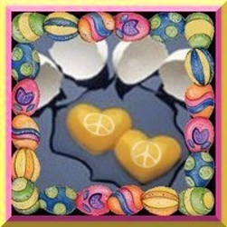 two heart shaped eggs on griddle in easter egg frame