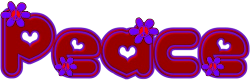 red and purple lettering with peace flowers accent