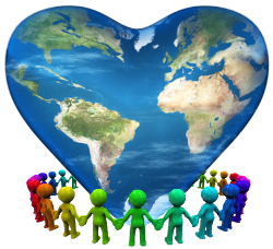 colorful figures holding hands around heart shaped earth