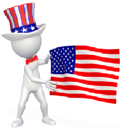 figure with red, white, blue hat holding american flag