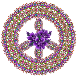 little jewels with big purple flowers center peace sign