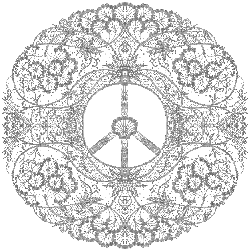 silver, lacy peace sign design