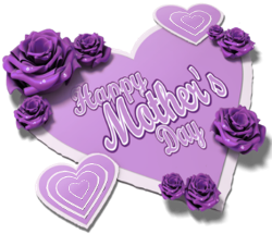 lavender hearts, purple roses, happy mothers day