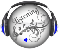listening text with blue heart on circle wearing headphones