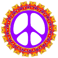 purple center peace sign with row of hearts into sun outer edge