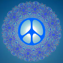 blue pattern peace sign with bright light center