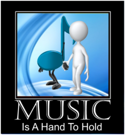 figure holding hands with music note