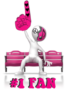 pink figure on bench holding up one finger