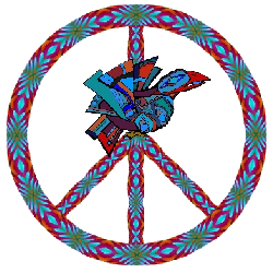 native american style peace sign with abstract raven center
