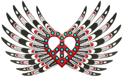 nw-native american peace love symbol with head dress wings
