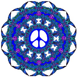 layers of blues, peace signs, peace sign center