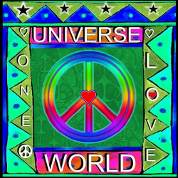 center peace sign one world design