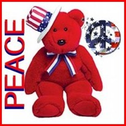 teddy bear dressed in patriotic colors with flag design peace sign
