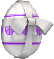 big egg with purple peace signs wrapped in ribbon, bow